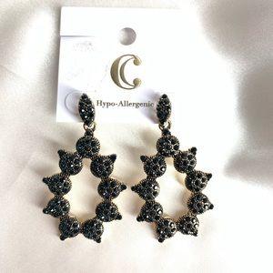 NEW‼️CharmingCharlie darkblue stoned+gold earrings
